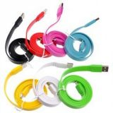 Кабель usb папа для Apple Ligtning small noodle cable for Apple iPhone5, iPad4/mini blue, плоский 1,0m